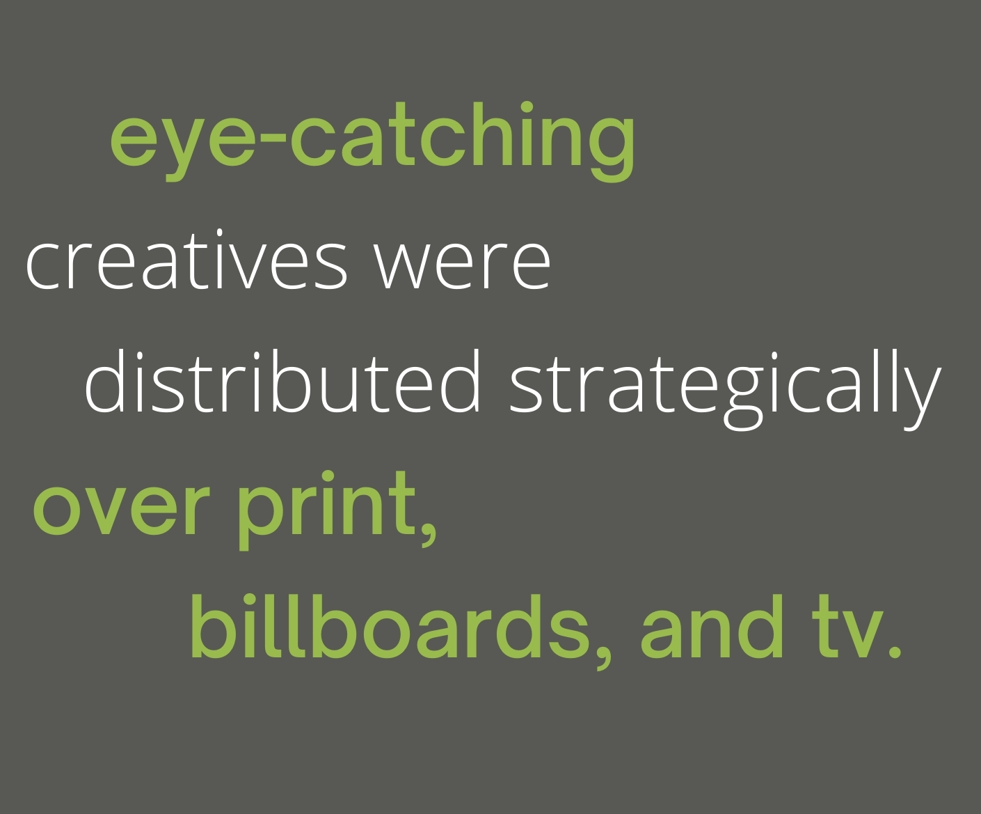 eye-catching creatives were distributed strategically over print, billboards, and tv.